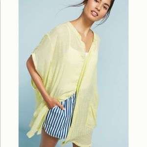 Anthropologie neon yellow oversized shirt
